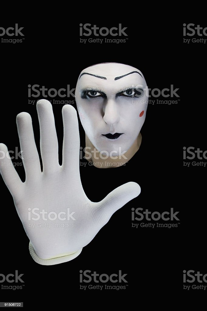 The mime isolated on a black background. royalty-free stock photo