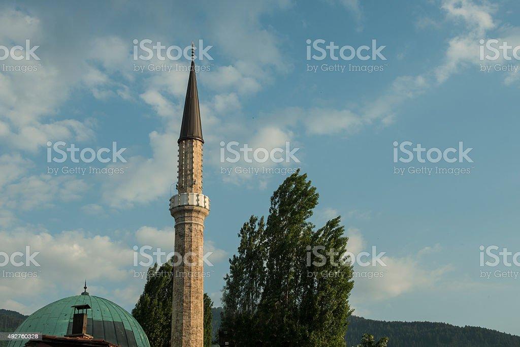 The minaret in Sarajevo stock photo