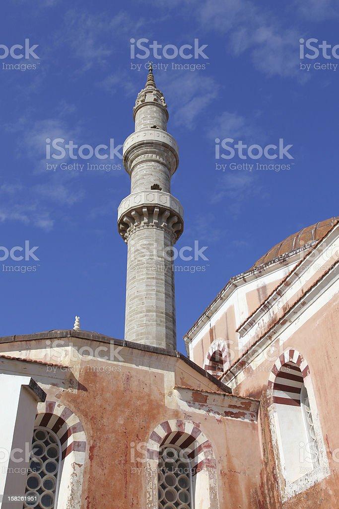 the minaret of Suleiman mosque on Rhodes stock photo