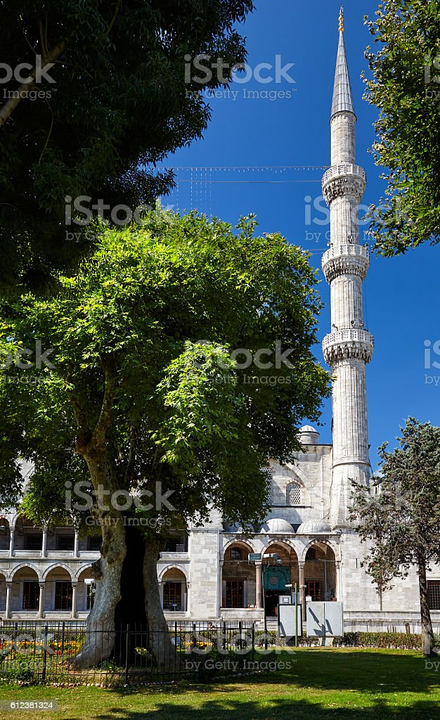The minaret of Sultan Ahmed Mosque, Istanbul stock photo