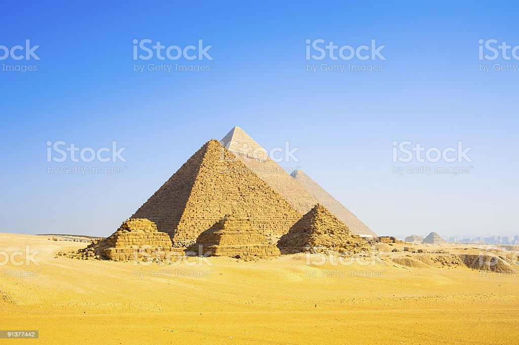 The mind baffling Giza Pyramids stock photo