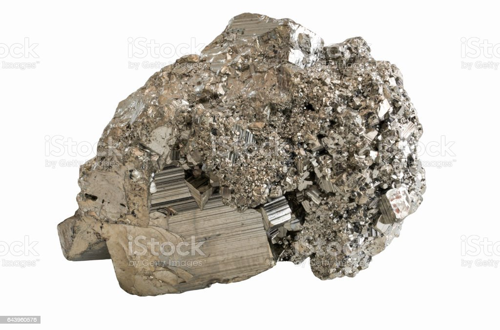 The mineral pyrite or iron pyrite, also known as fool's gold isolated on white background stock photo