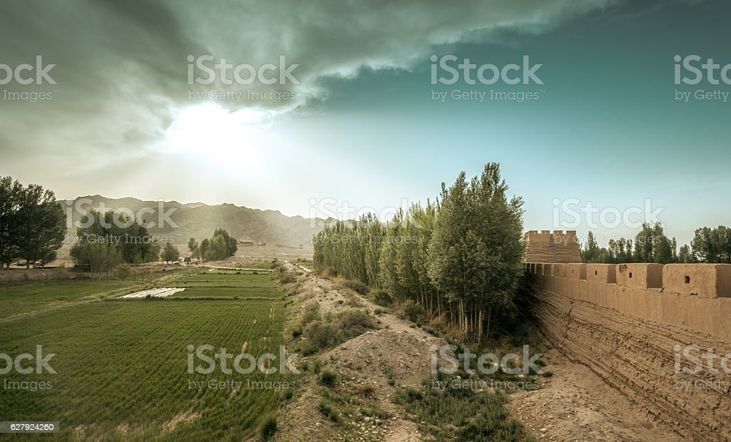 The Ming Dynasty Great Wall under sunset in Jiayuguan China stock photo