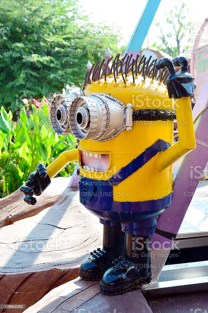 The Minion model made from steel at floating market stock photo