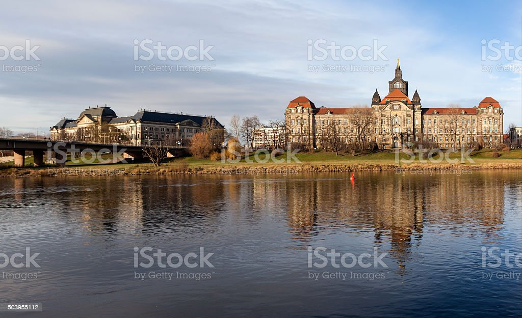 The Ministry of Finance and the State Chancellery of Saxony. Dresden. Germany. stock photo