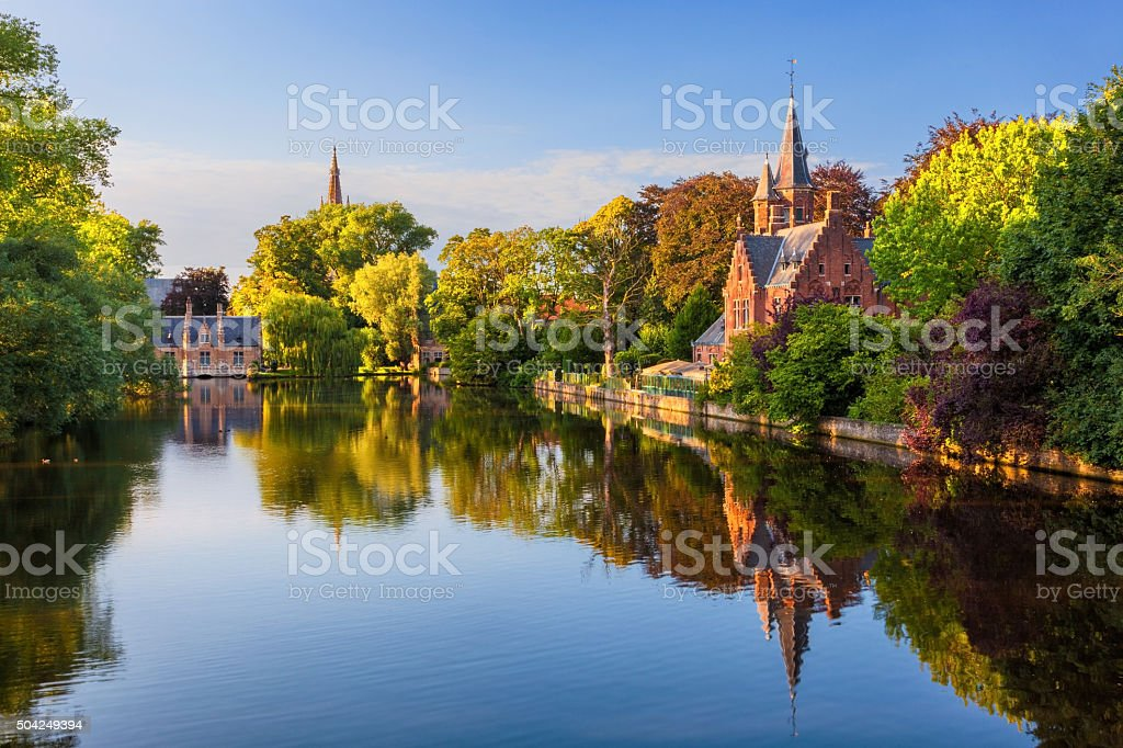 The Minnewater of Bruges, Belgium stock photo