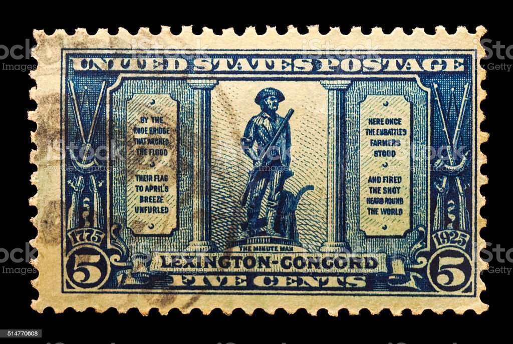 The Minute Man Lexington - Concord Postal Issue stock photo
