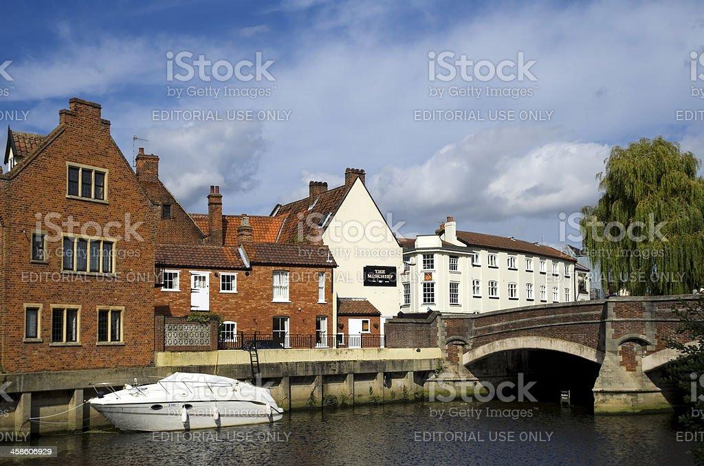 The Mischief Tavern and Fye Bridge, Norwich royalty-free stock photo