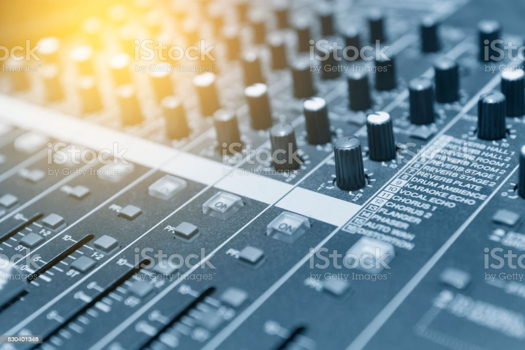 The mixer table or fader board for music production stock photo