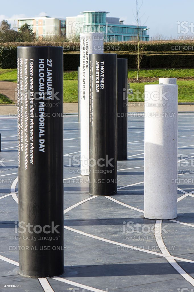 The MK Rose monument and pillars close up stock photo