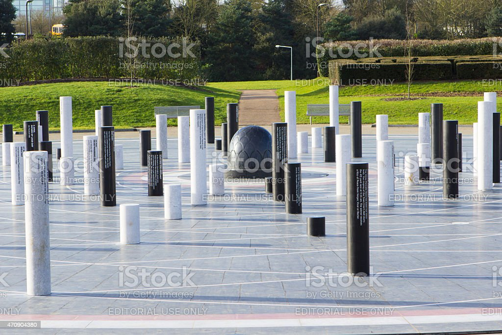 The MK Rose monument and pillars,  Milton Keynes, UK stock photo