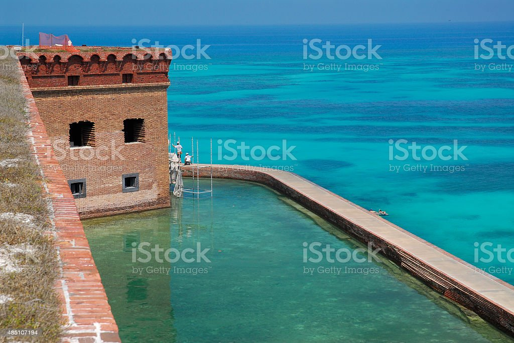 The Moat at Fort Jefferson stock photo