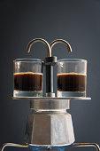 The mocha coffee pot on the stove