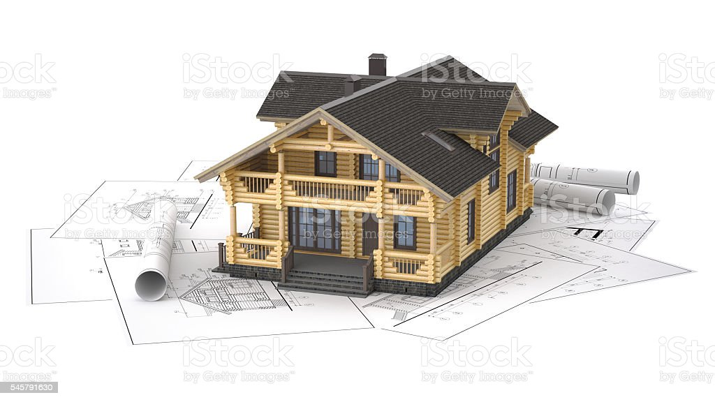The model of a log house on the background drawings stock photo