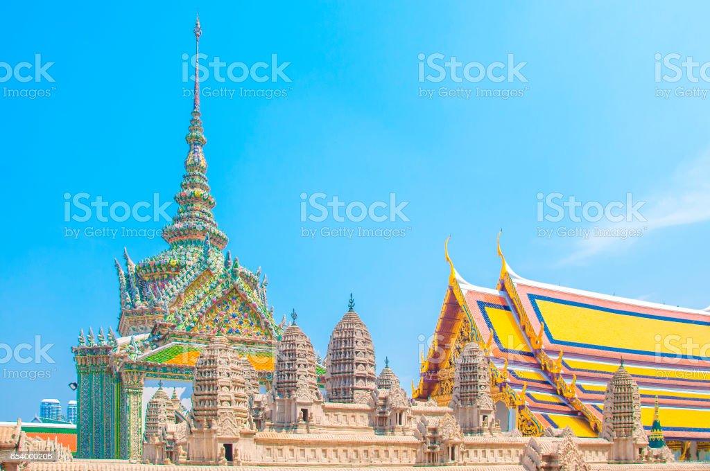 The model of Angkor Wat of Cambodia at Wat Phra Kaew, Grand Palace, Bangkok, Thailand. stock photo