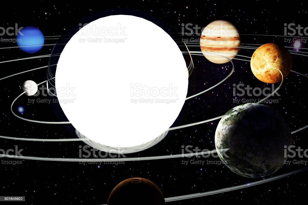 The model of the solar system. 3d illustration stock photo