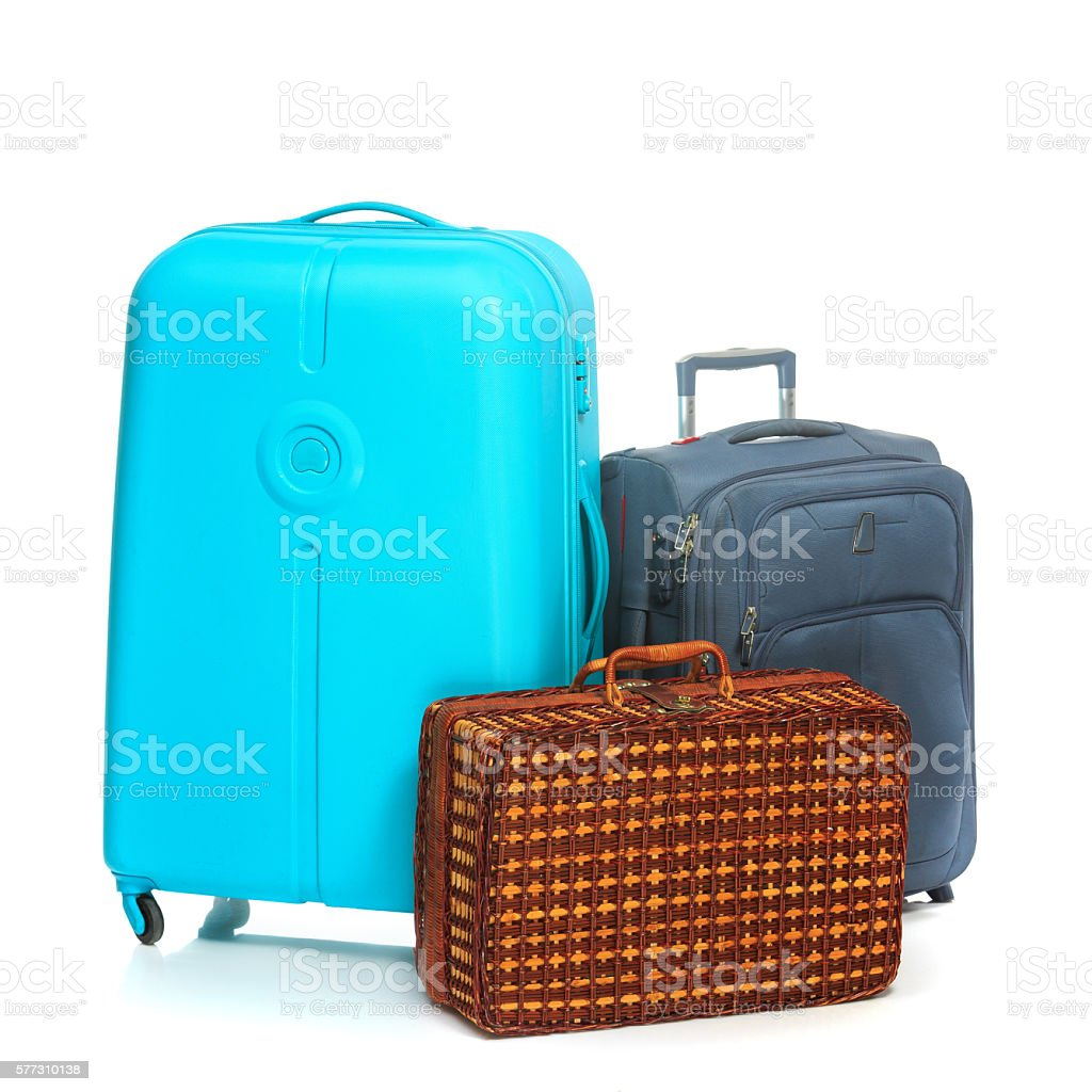 modern suitcases - the modern and retro suitcases on white background stock photo