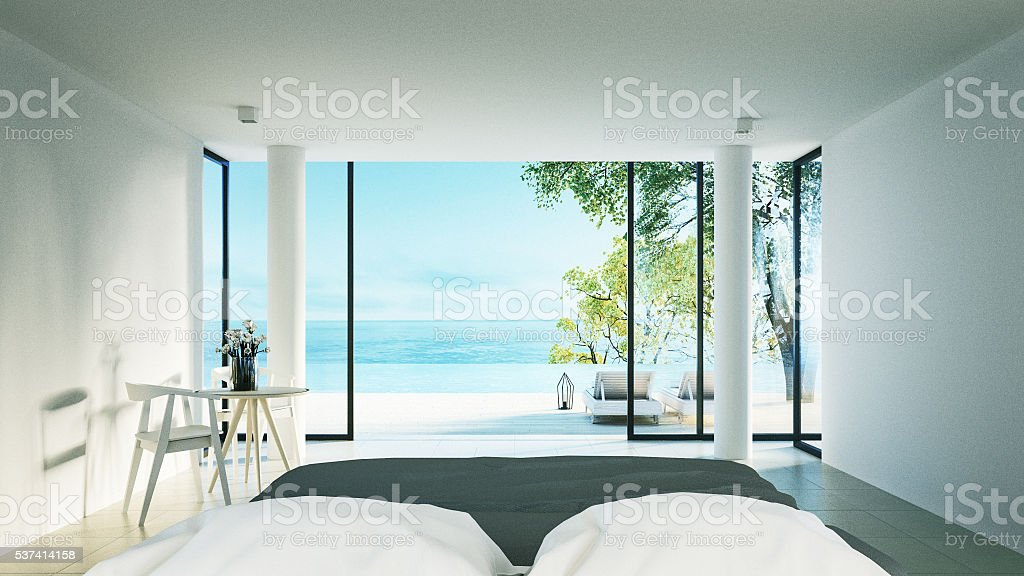 The Modern Bedroom - Sundeck on Sea view stock photo