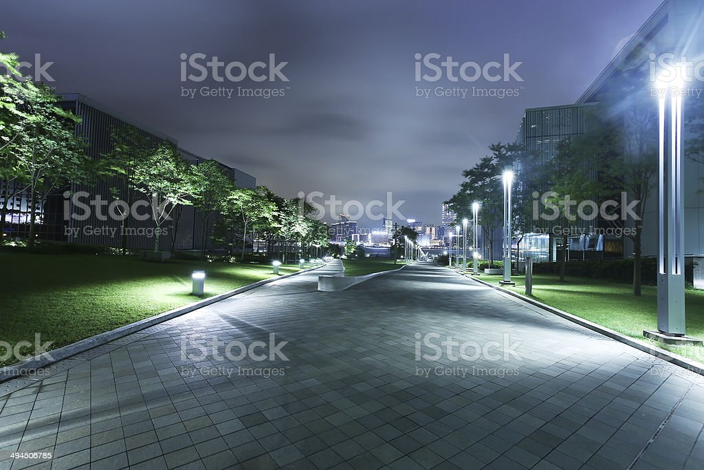 The modern buildings and city park stock photo