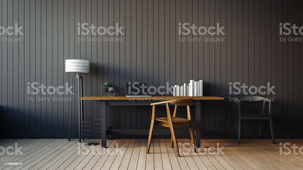 The modern interior of home office stock photo