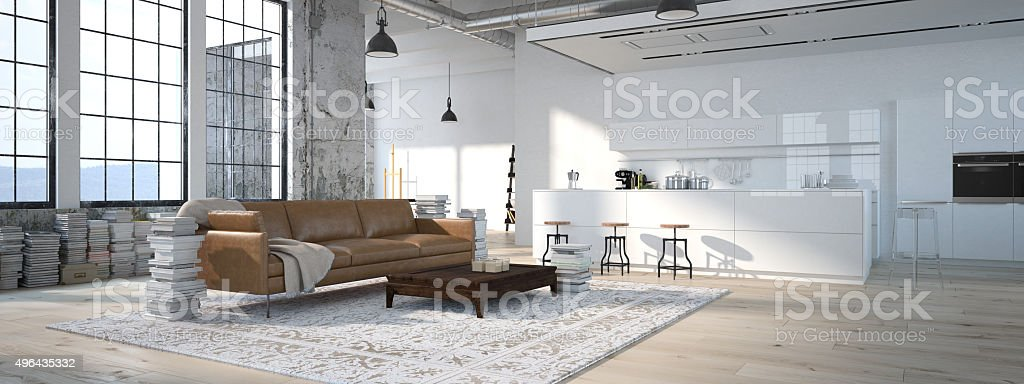 The modern kitchen. 3d rendering stock photo