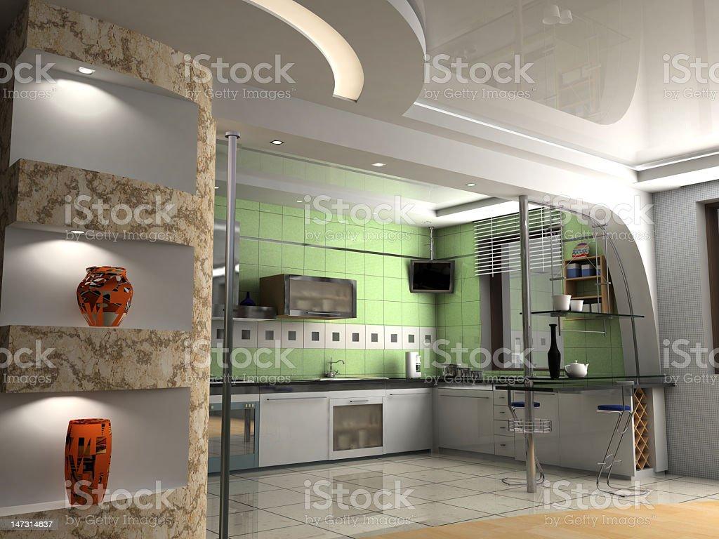 the modern kitchen royalty-free stock photo