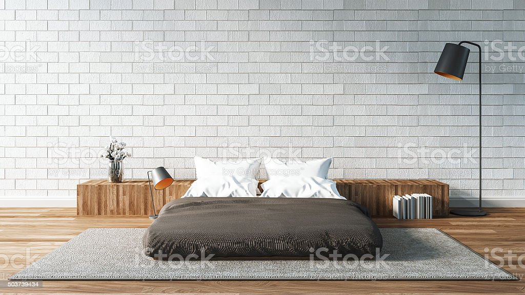 The Modern of Loft Bedroom vector art illustration