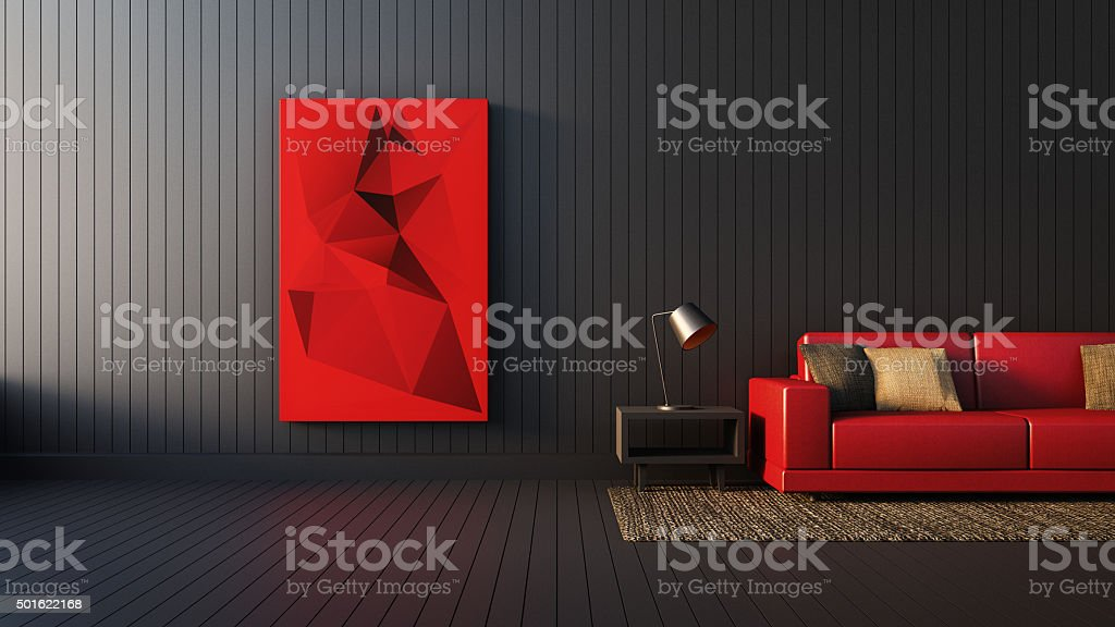 The modern RED-BLACK-WHITE interior of Living Area and Soft Sofa stock photo