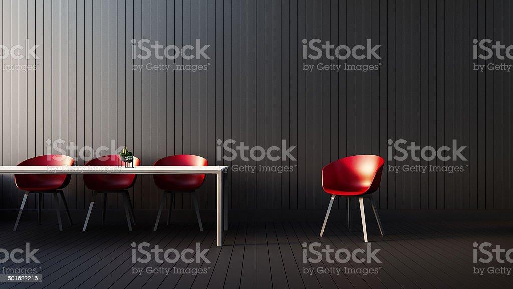 The modern RED-BLACK-WHITE interior of  Living stock photo