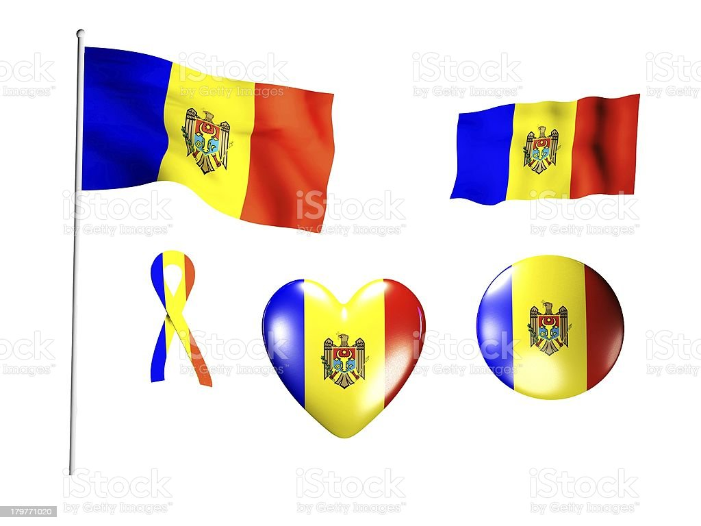 The Moldavia flag - set of icons and flags royalty-free stock photo