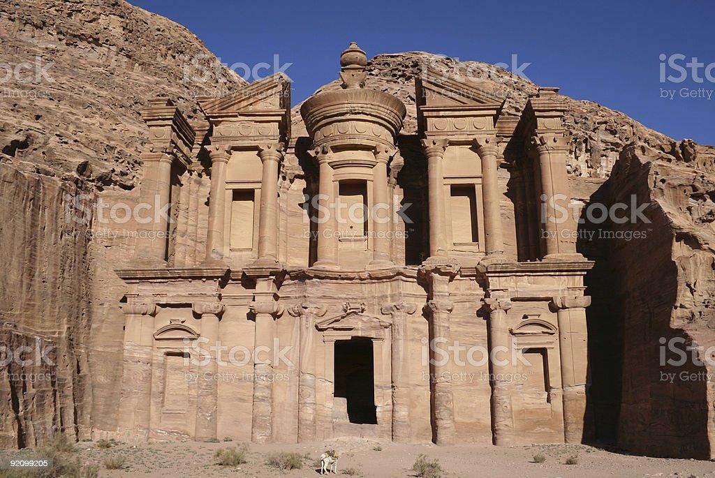 The Monastery at Petra royalty-free stock photo