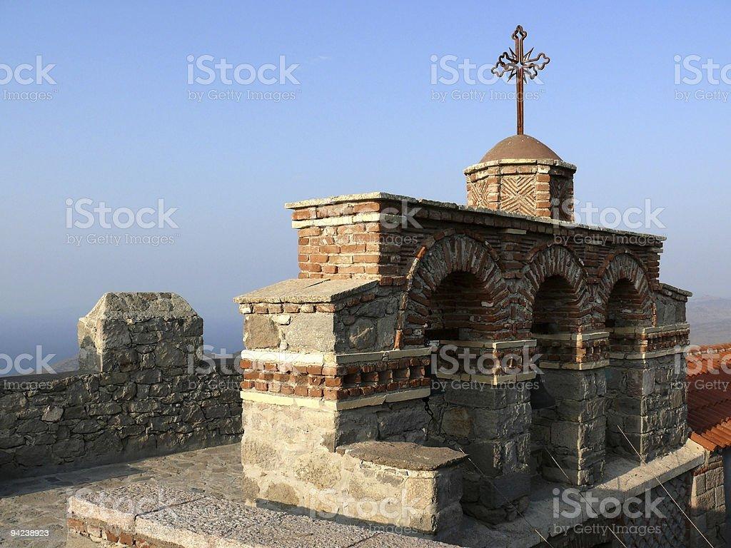 Das Kloster bell tower, Lesbos, Griechenland Lizenzfreies stock-foto