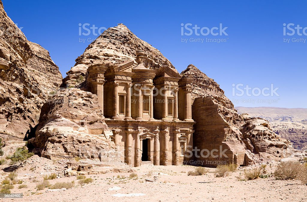 The Monastery in ancient city of Petra stock photo
