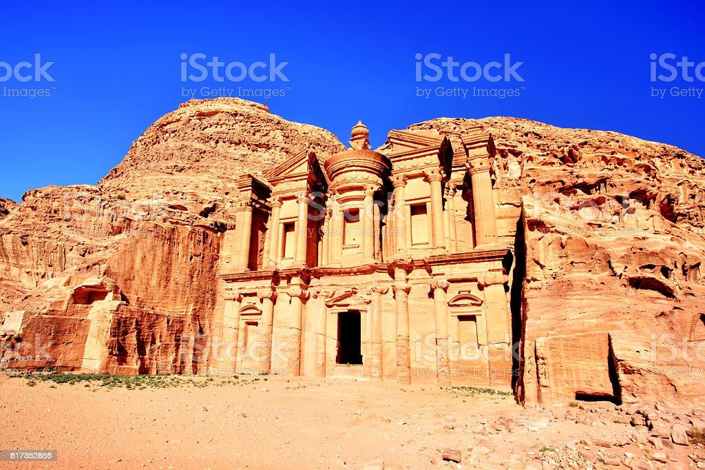 The Monastery in Petra Ancient City in a Golden Sun, Jordan stock photo