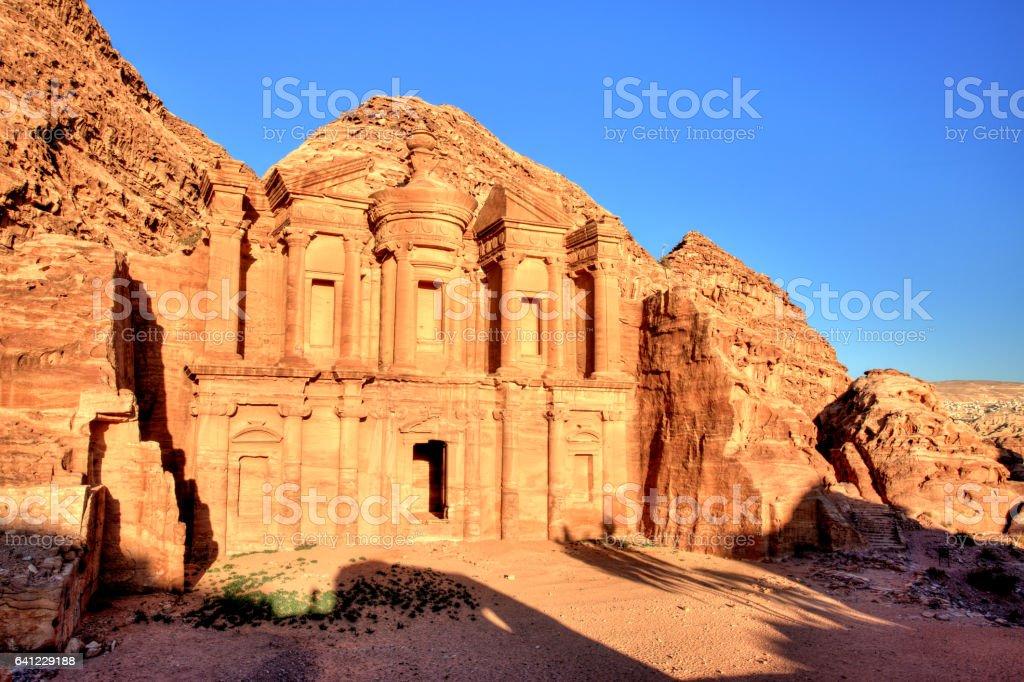 The Monastery (El Dayr) in Petra Ancient City in a Golden Sun, Jordan stock photo