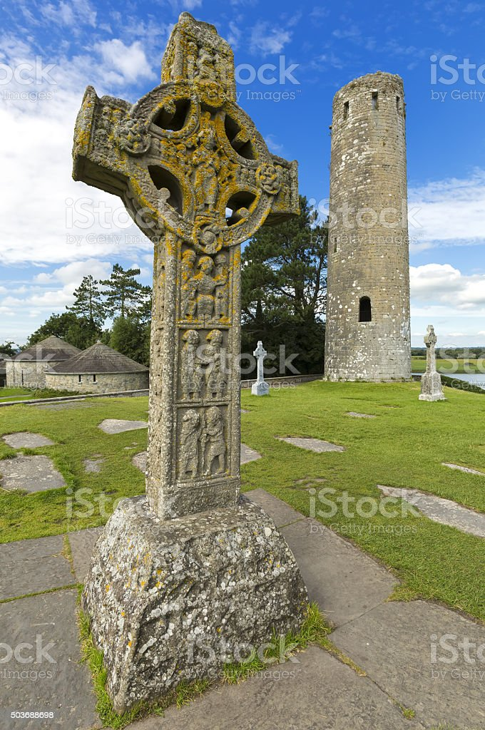 The monastery of Clonmacnoise, Ireland. stock photo