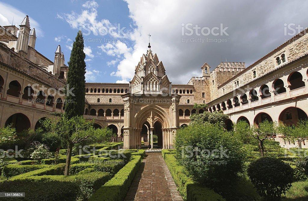 The monastery of Santa María de Guadalupe stock photo