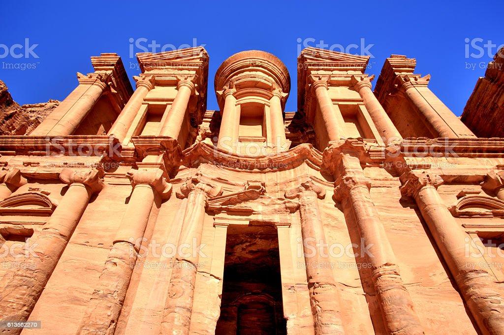 The Monastery, Petra Ancient City in a Golden Sun, Jordan stock photo