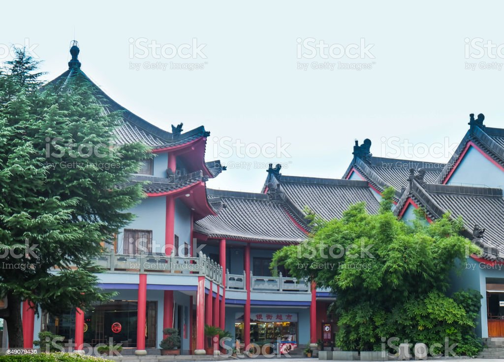 the monastery Wudang Mountain. All cleared outside the cloud stock photo