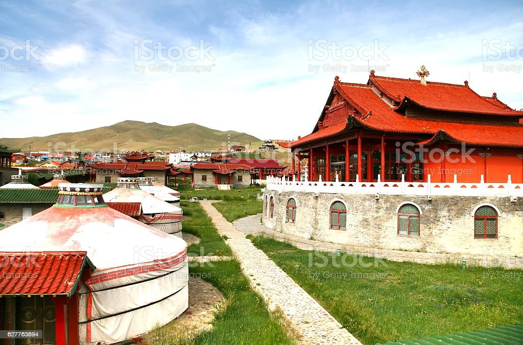 The mongolia palace at Ulaanbaatar , Mongolia stock photo