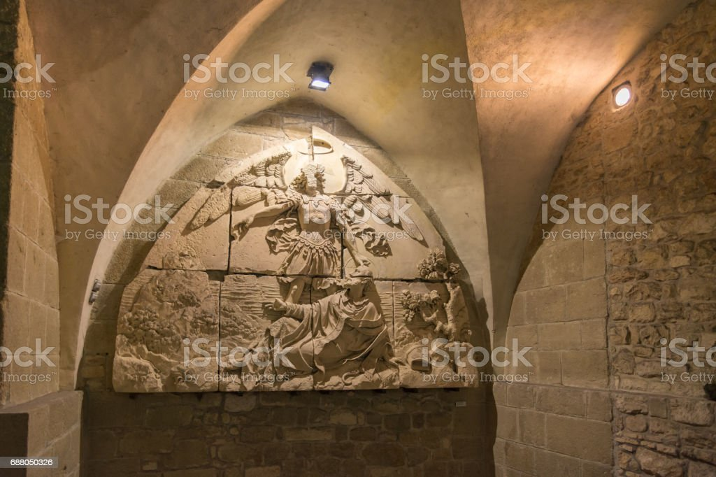 The Mont Saint Michel Abbey in France stock photo