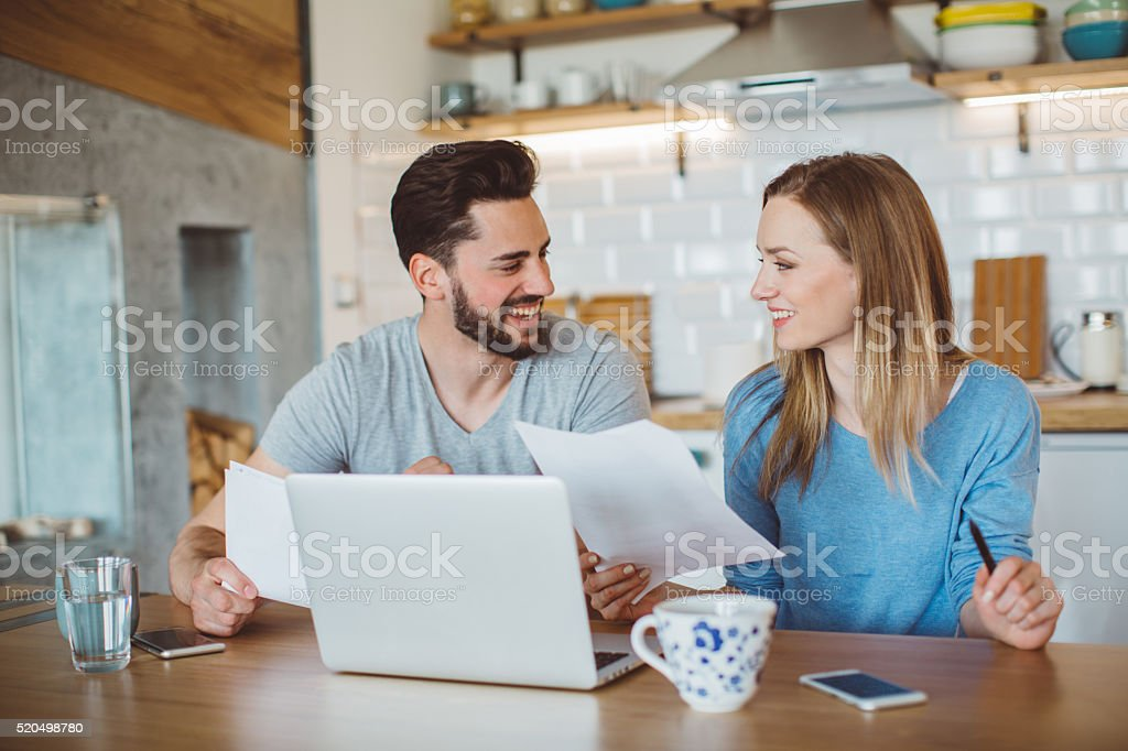 The monthly finances stock photo