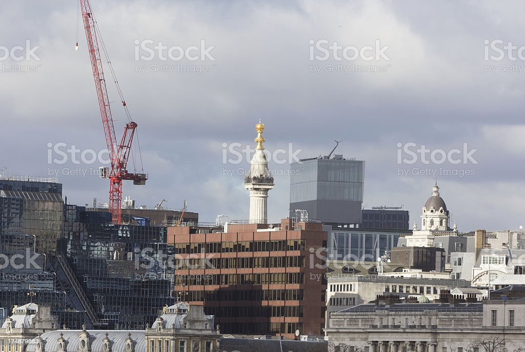 The Monument in City of London, England royalty-free stock photo