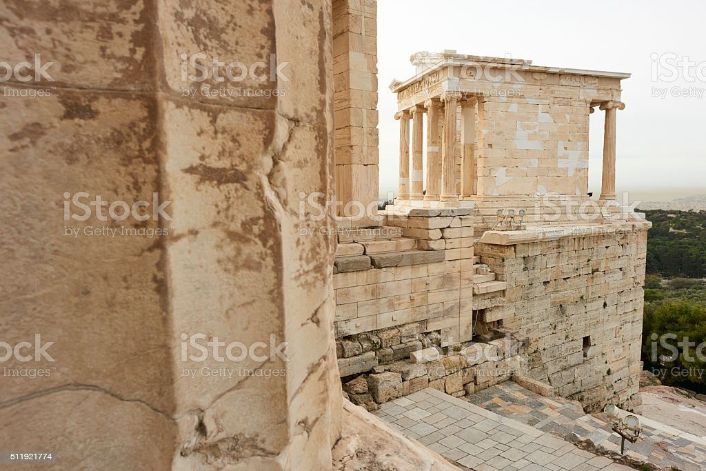 The Monument of Agrippa in the Acropolis of Athens. stock photo