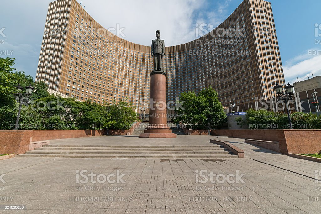 The Monument of French President Charles de Gaulle in Moscow. stock photo
