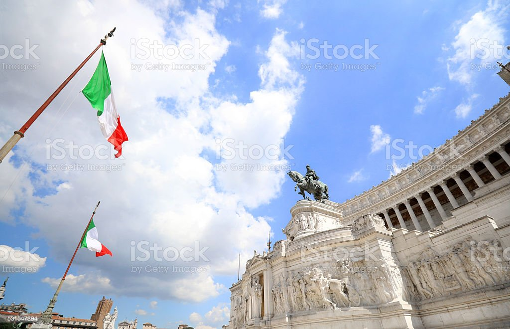The Monument of Victor Emmanuel II in Rome, Italy stock photo