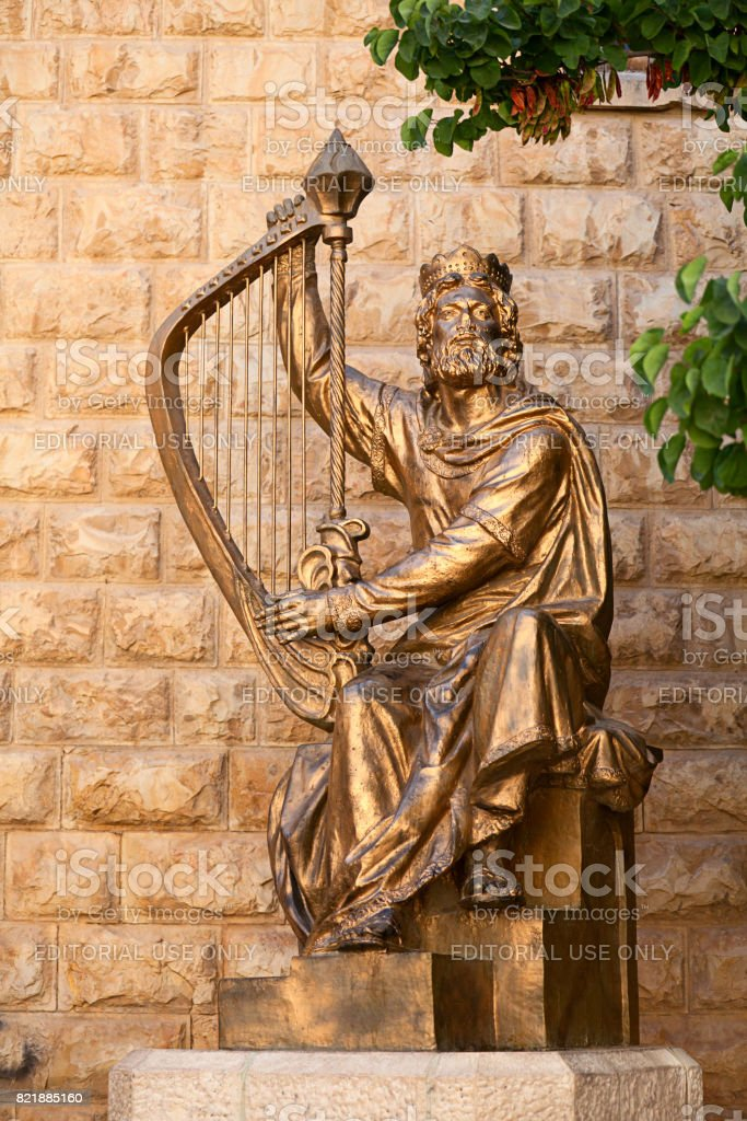The monument to King David with the harp in Jerusalem, stock photo