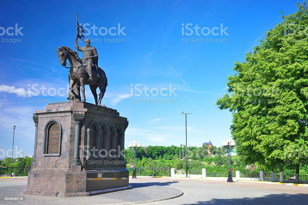 The monument to Prince Vladimir in summer, Russia. stock photo