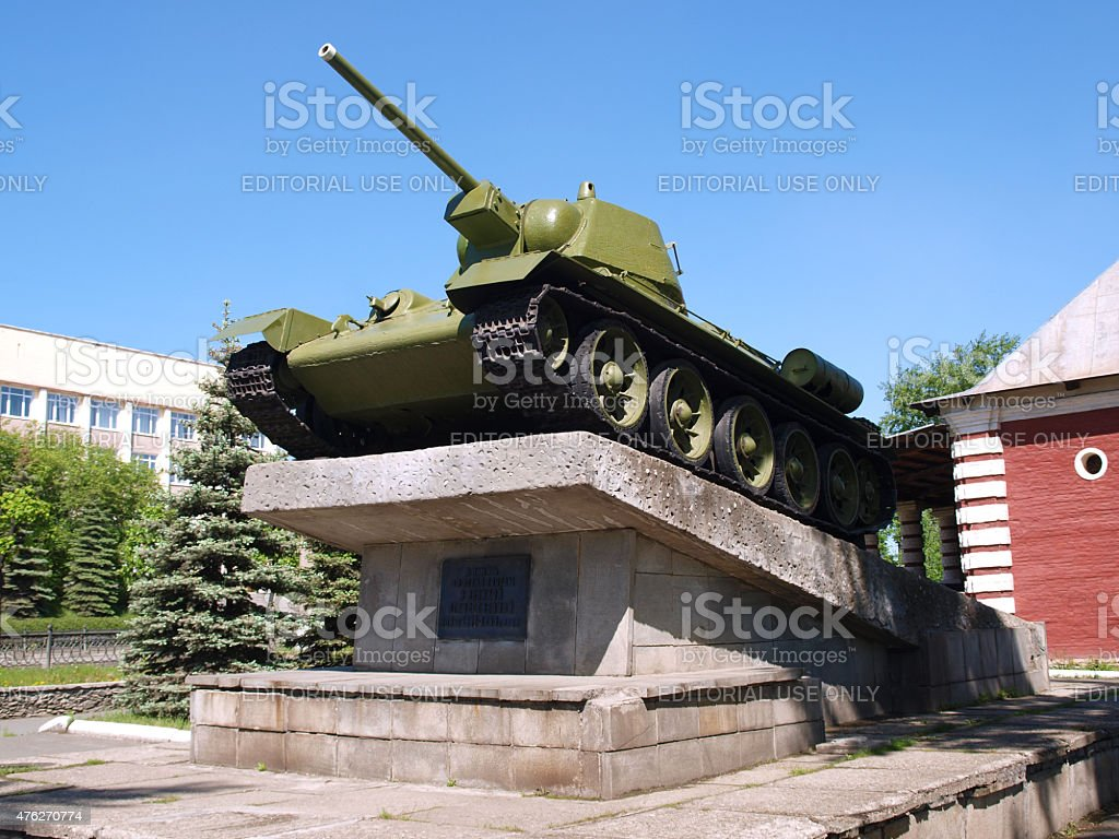 The monument to the legendary Soviet T-34 tanks stock photo