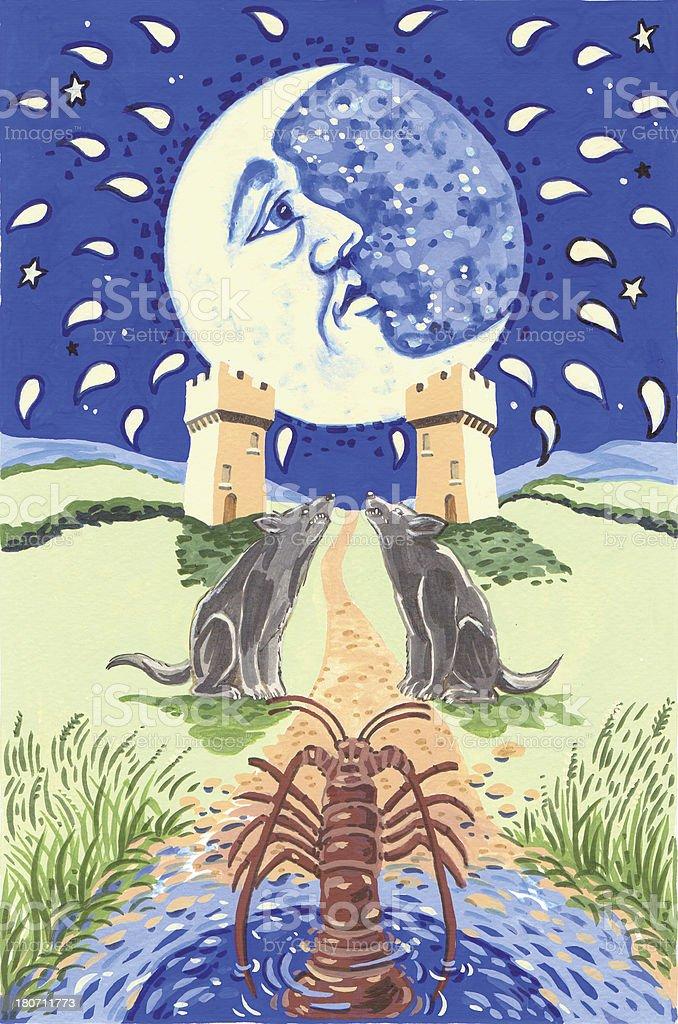 TAROT CARD. The Moon stock photo